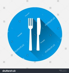 table setting on blue background flat image cutlery icon with long shadow layers grouped for easy editing illustration for your design vector [ 1500 x 1600 Pixel ]