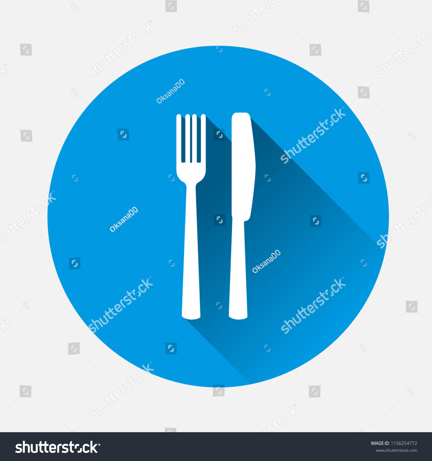 hight resolution of table setting on blue background flat image cutlery icon with long shadow layers grouped for easy editing illustration for your design vector