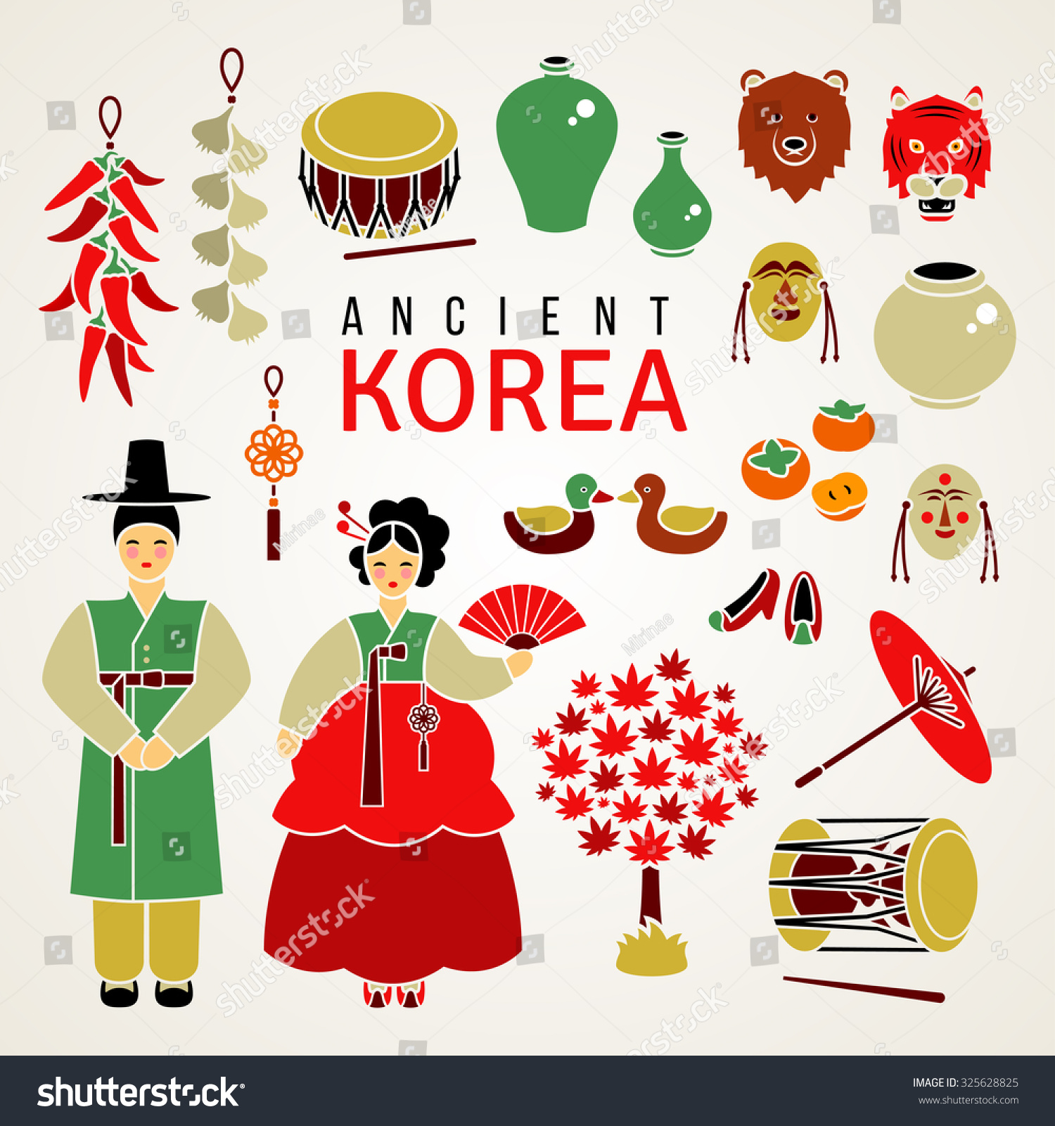 Korean National Symbols Set Flat Icons Stock Vector