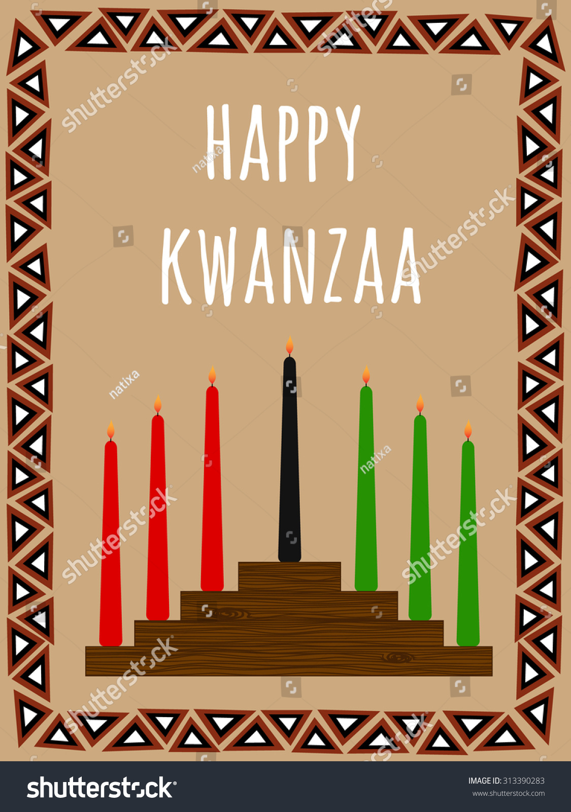 Kwanzaa Postcard With A Seven Candles Candlestick African