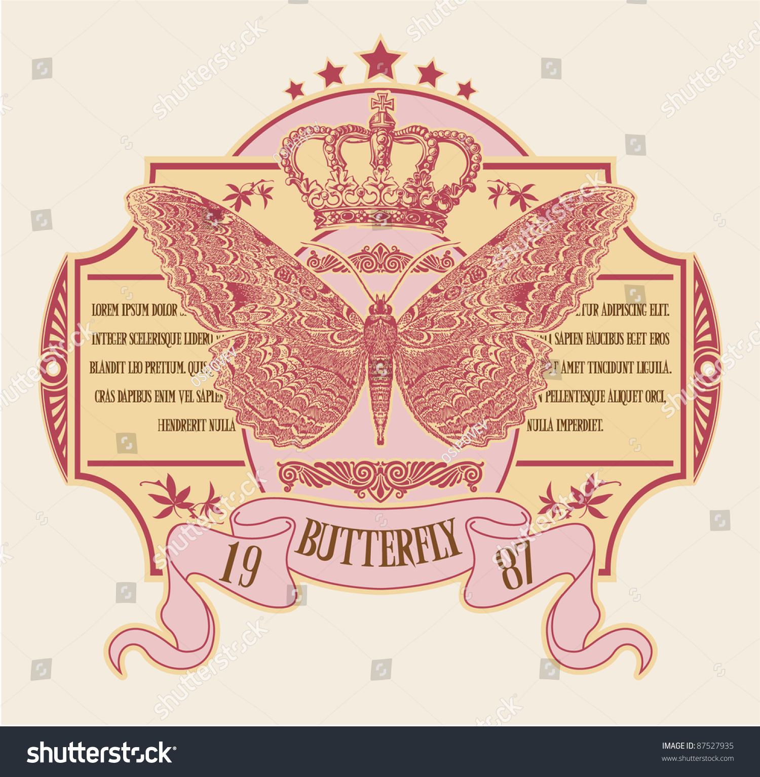 Label With The Image Of The Butterfly Stock Vector