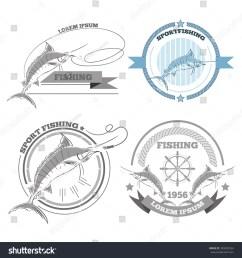 labels of marlin fishing emblems badges design elements eps 10 [ 1500 x 1600 Pixel ]