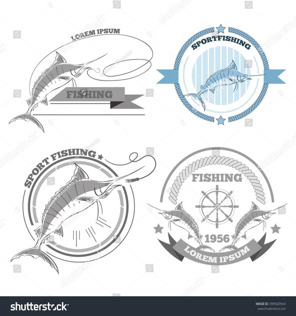 medium resolution of labels of marlin fishing emblems badges design elements eps 10