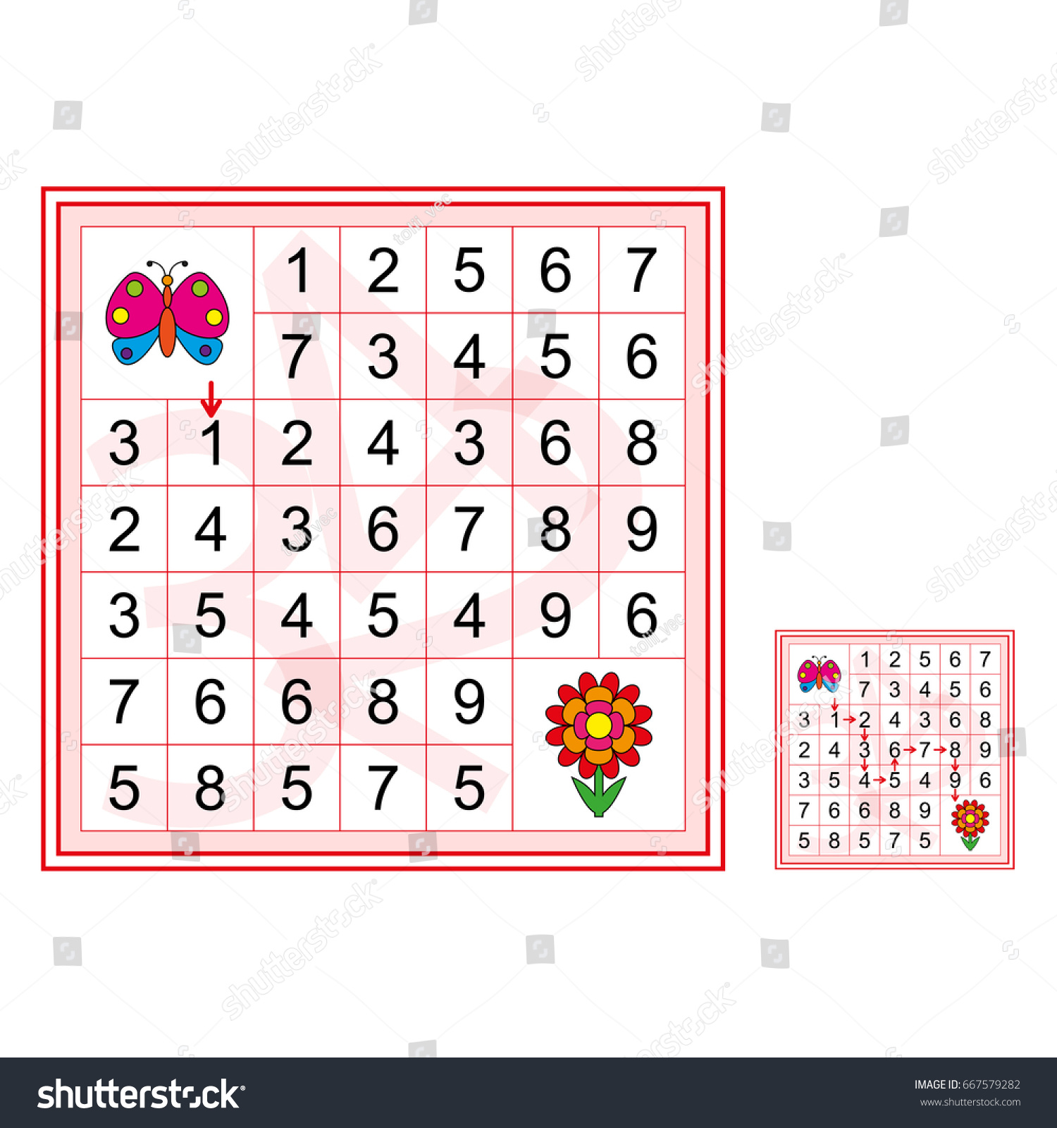 Labyrinth Numbers Worksheet Preschool Kids Vector Stock
