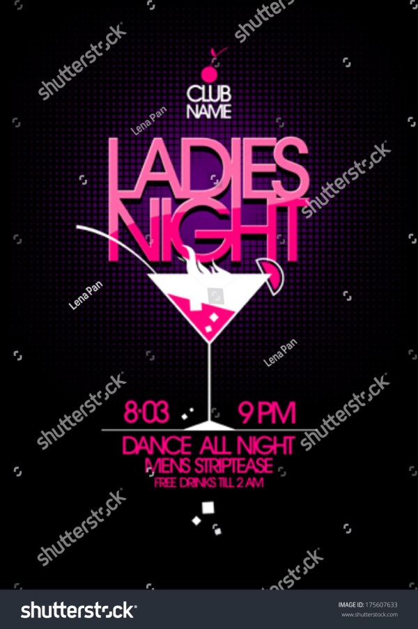 Ladies Night Party Design Martini Glass Stock Vector 175607633 - Shutterstock