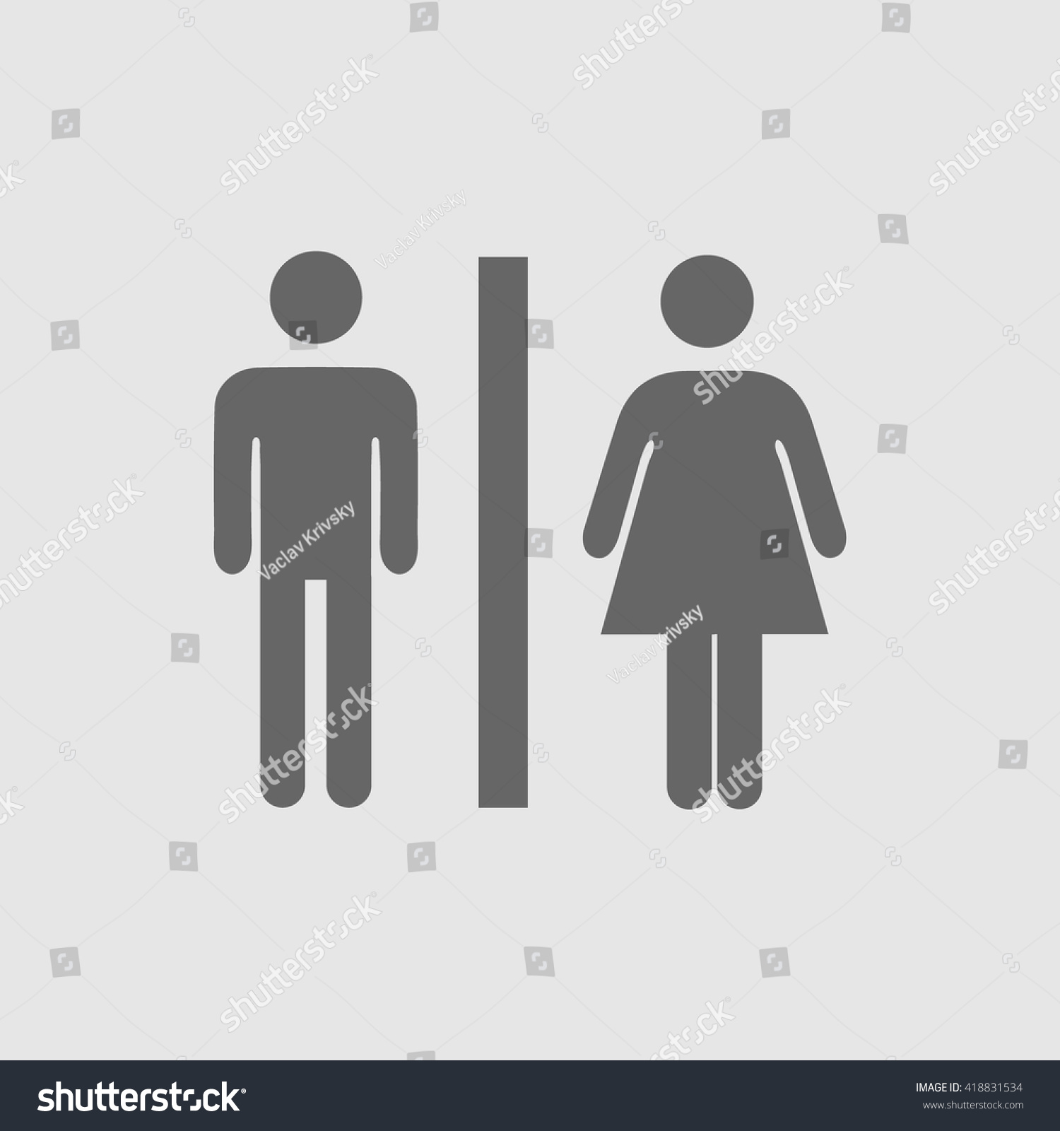 Sign For Bathroom Lady Man Toilet Sign Vector Icon Stock Vector Royalty Free