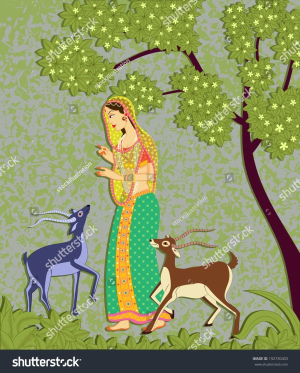 Lady With Deer In Indian Art Style Stock Vector Illustration 192730403 Shutterstock