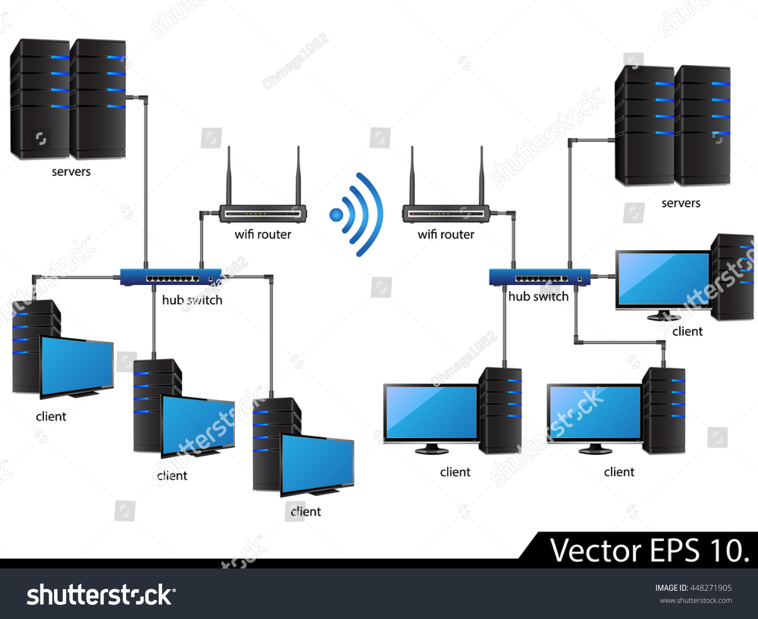hight resolution of lan network diagram icons vector illustrator eps 10 for business and technology concept