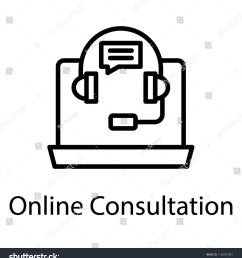 laptop with headset and chat bubble assigning concept to online consultation icon [ 1425 x 1600 Pixel ]
