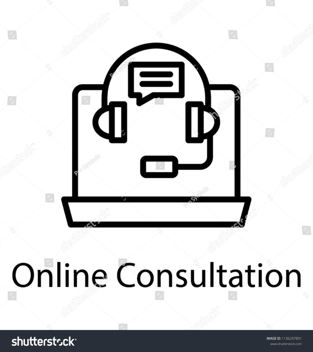 medium resolution of laptop with headset and chat bubble assigning concept to online consultation icon