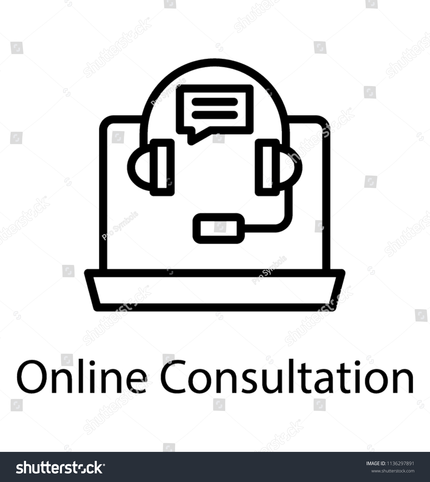 hight resolution of laptop with headset and chat bubble assigning concept to online consultation icon