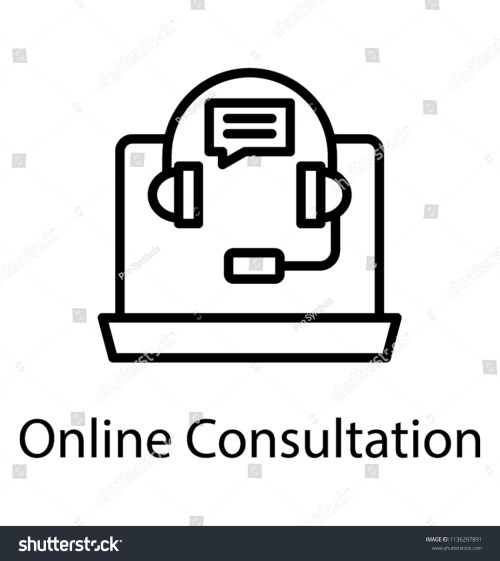 small resolution of laptop with headset and chat bubble assigning concept to online consultation icon