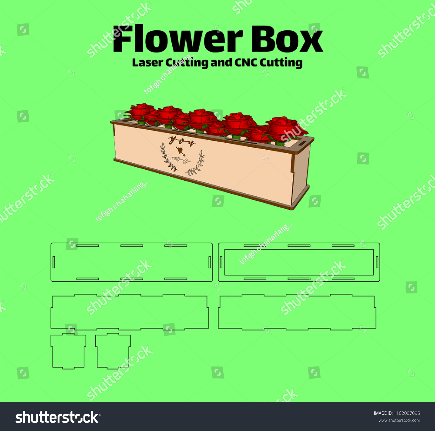hight resolution of laser cutting flower box without using glue for wood 3 mm