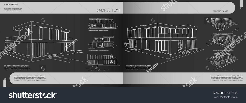 Layout Portfolio Architect Background Cover Heading Stock