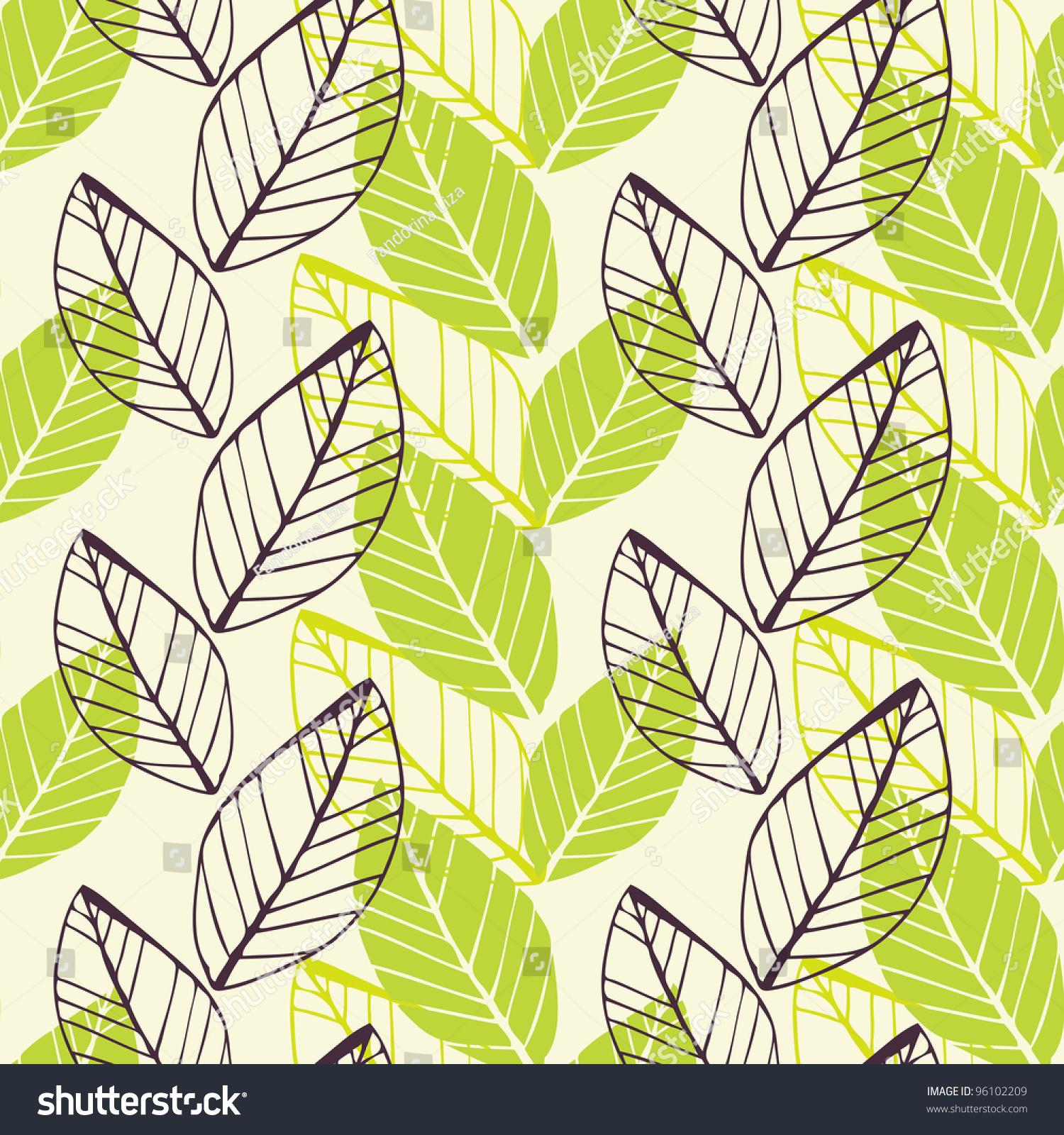 Leaf Green Spring Pattern Stock Vector Illustration