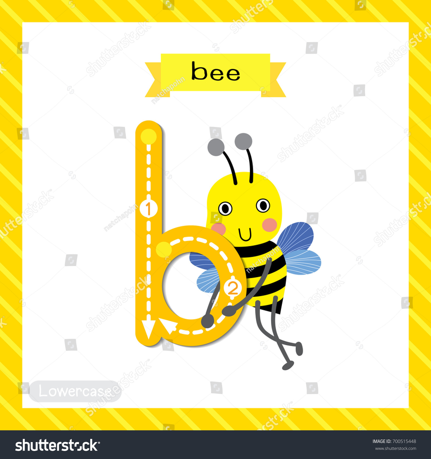 Letter B Lowercase Cute Children Colorful Stock Vector