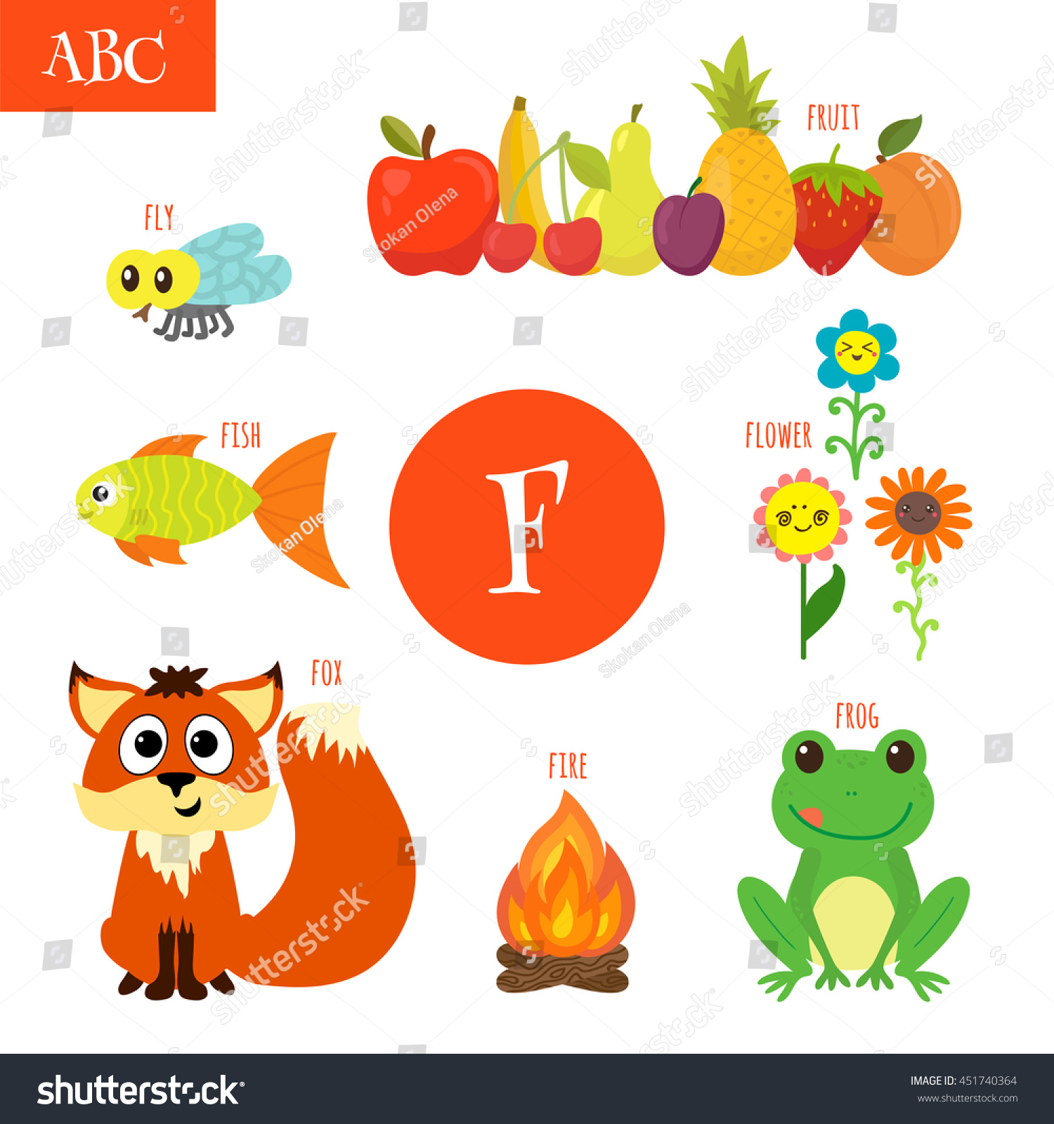 Letter F Cartoon Alphabet Children Flower Stock Vector