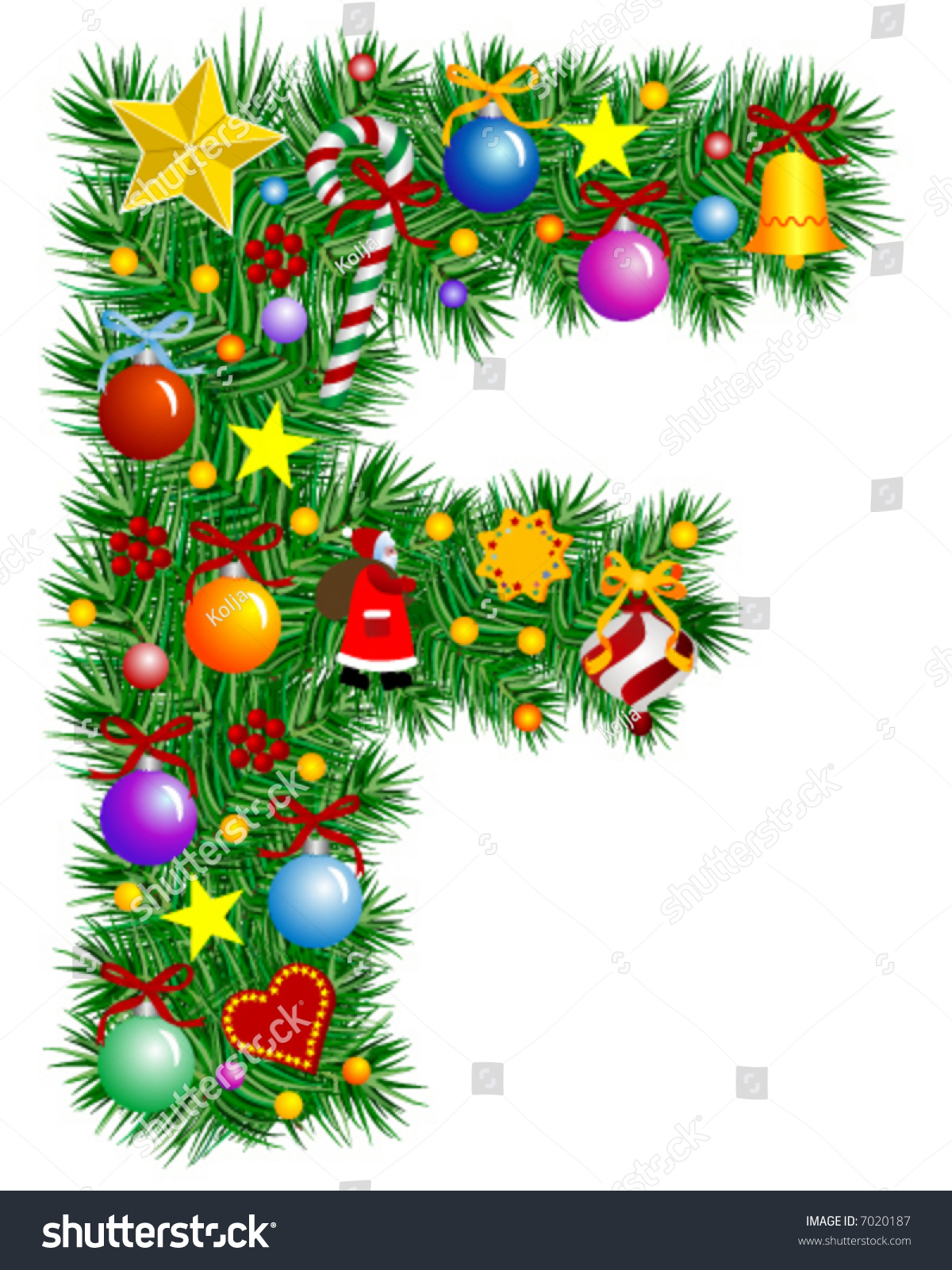 Letter F Christmas Tree Decoration Alphabet Stock Vector