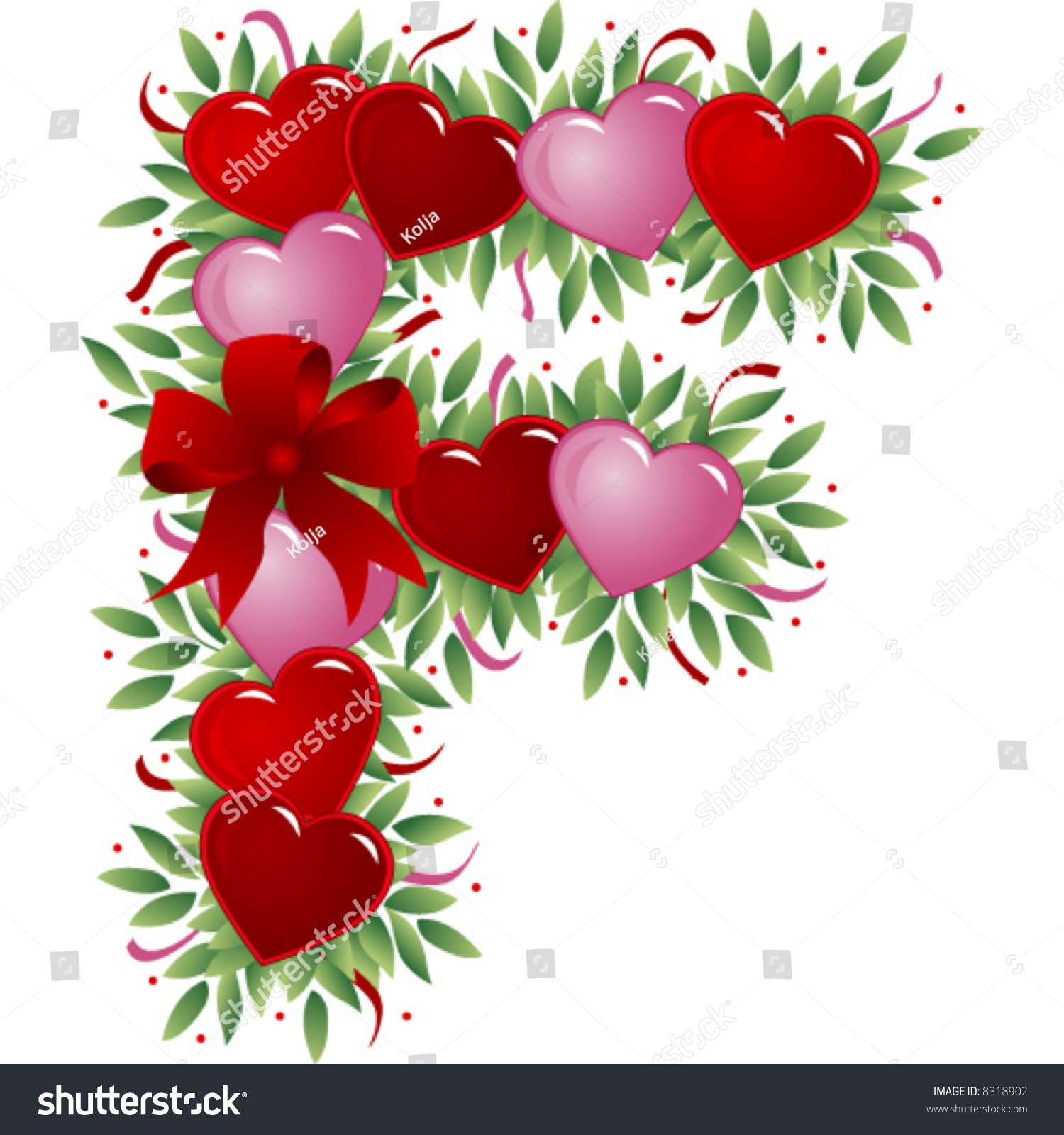 Letter F Valentines Love Letters Stock Vector