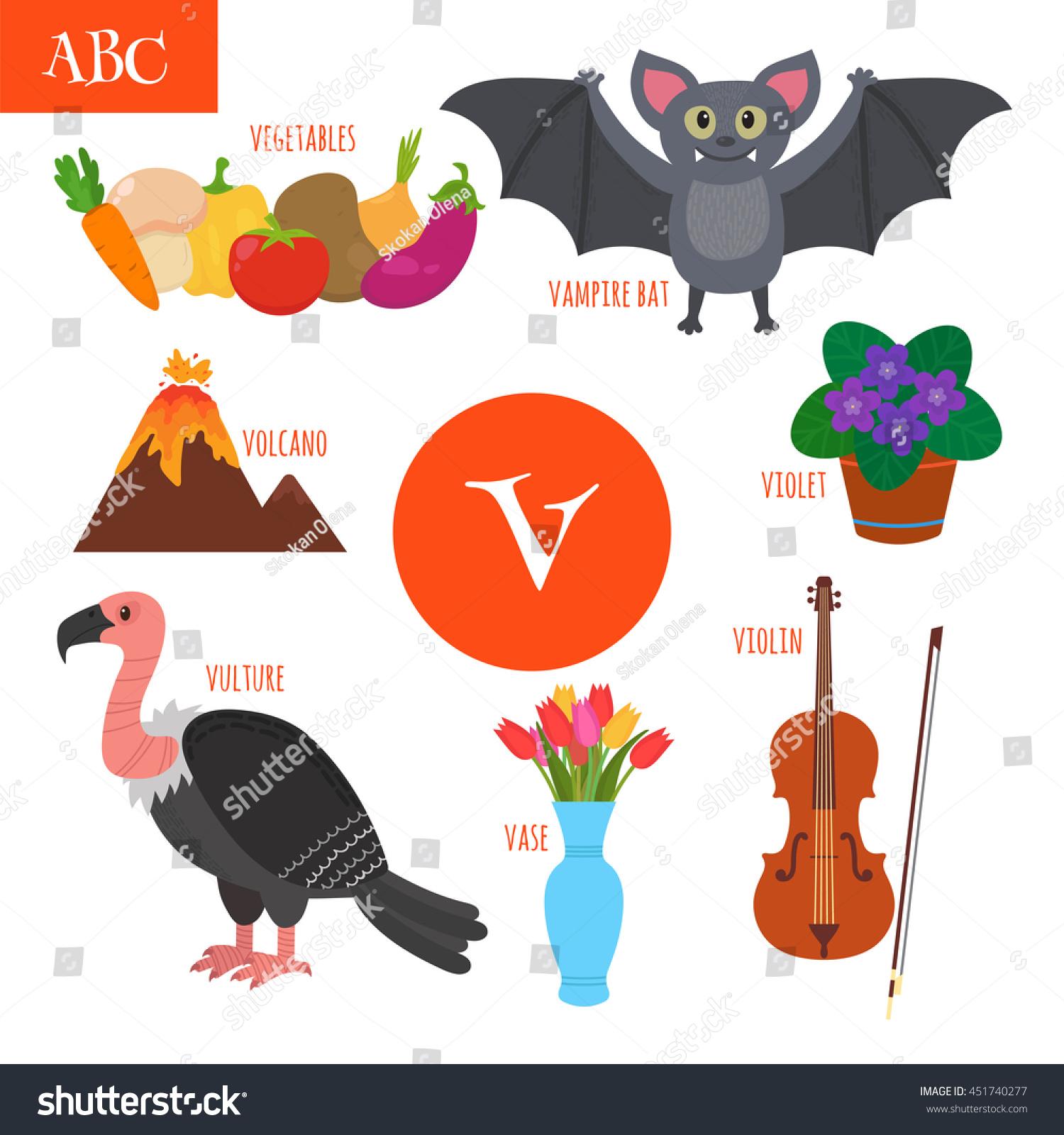 Letter V Cartoon Alphabet Children Violin Stock Vector