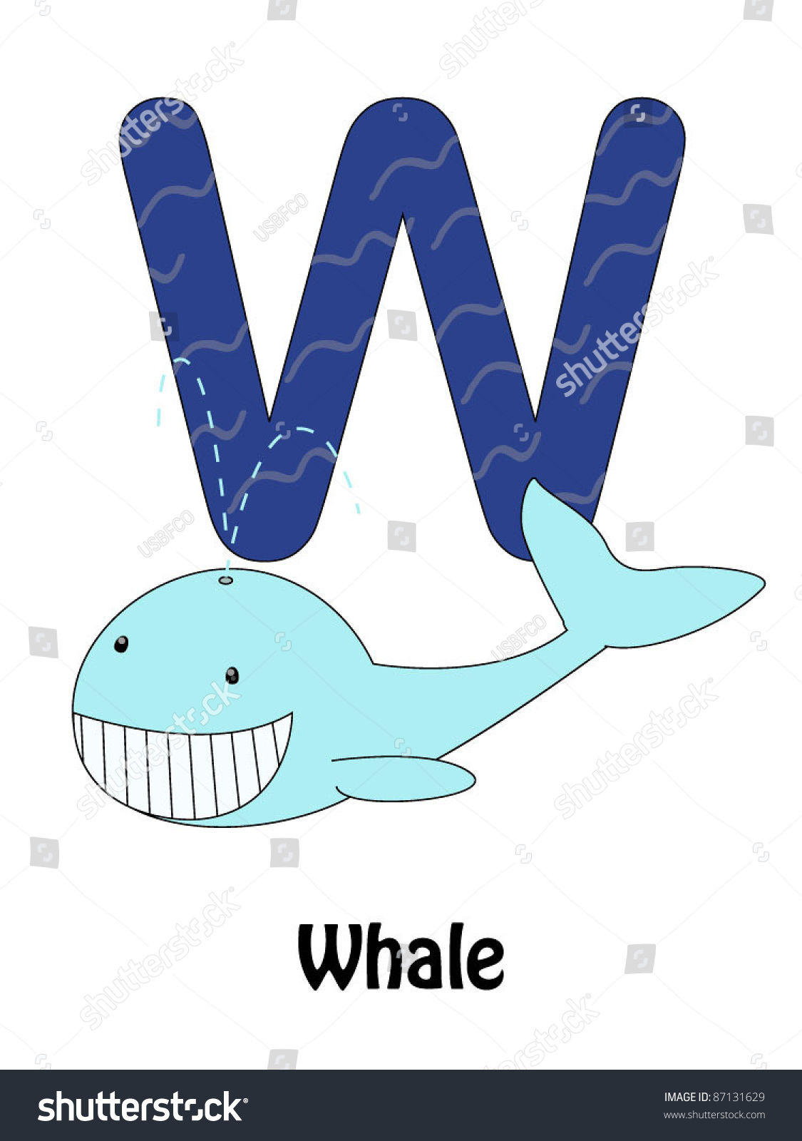 Letter W And Whale