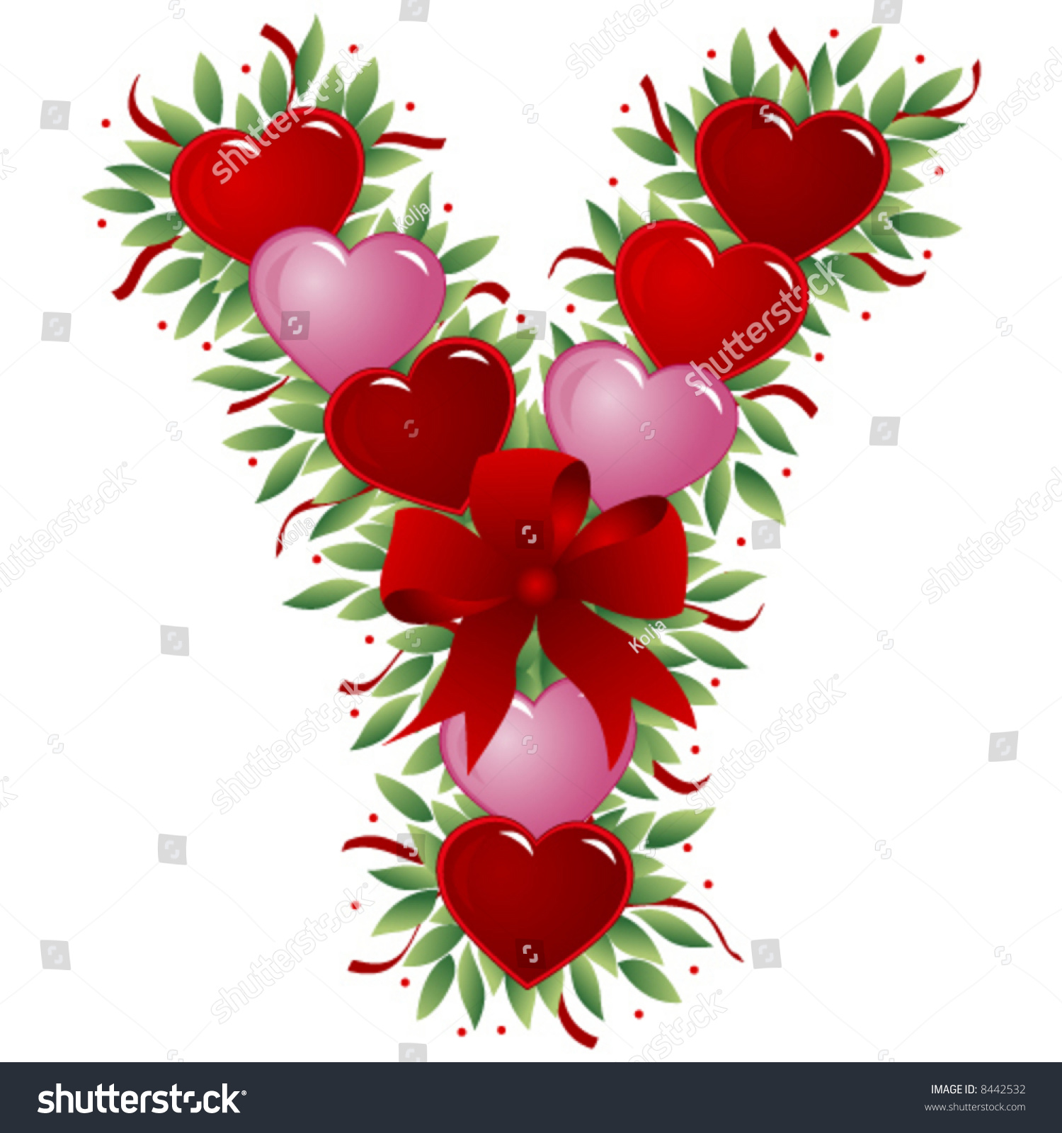 Letter Y Valentine Heart Letter Stock Vector