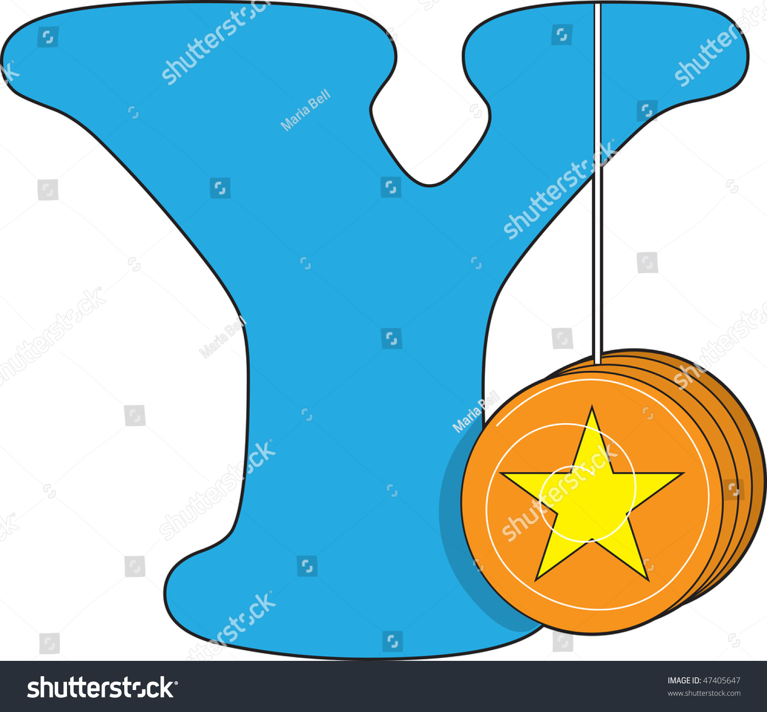 Letter Y With A Yoyo Stock Vector Illustration