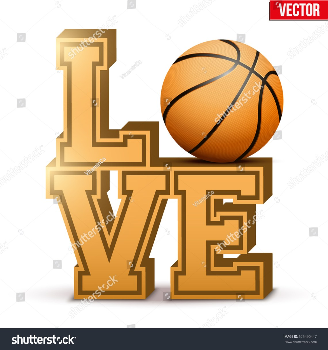 Download Letters Forming Word Love Basketball Ball Stock Vector ...
