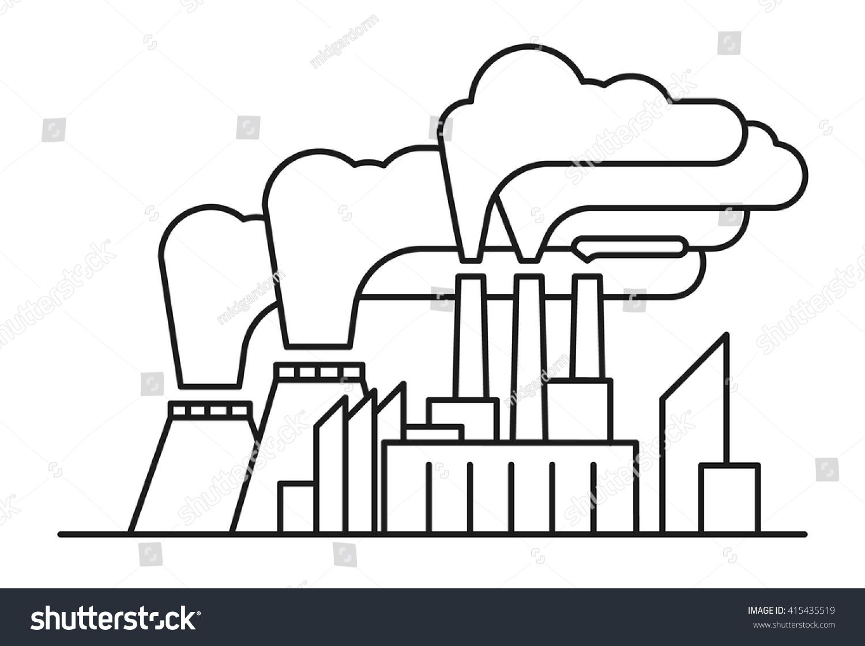 Line Art Illustration Poisonous Air Pollution Stock Vector