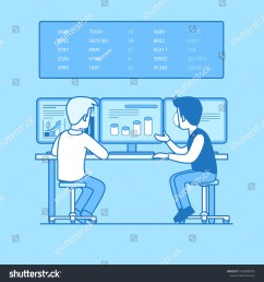 two businessman rear back view working computer graph chart diagram on pc screen board with numbers businesspeople illustration vector [ 1500 x 1600 Pixel ]