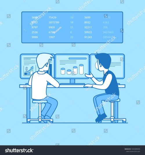 small resolution of two businessman rear back view working computer graph chart diagram on pc screen board with numbers businesspeople illustration vector