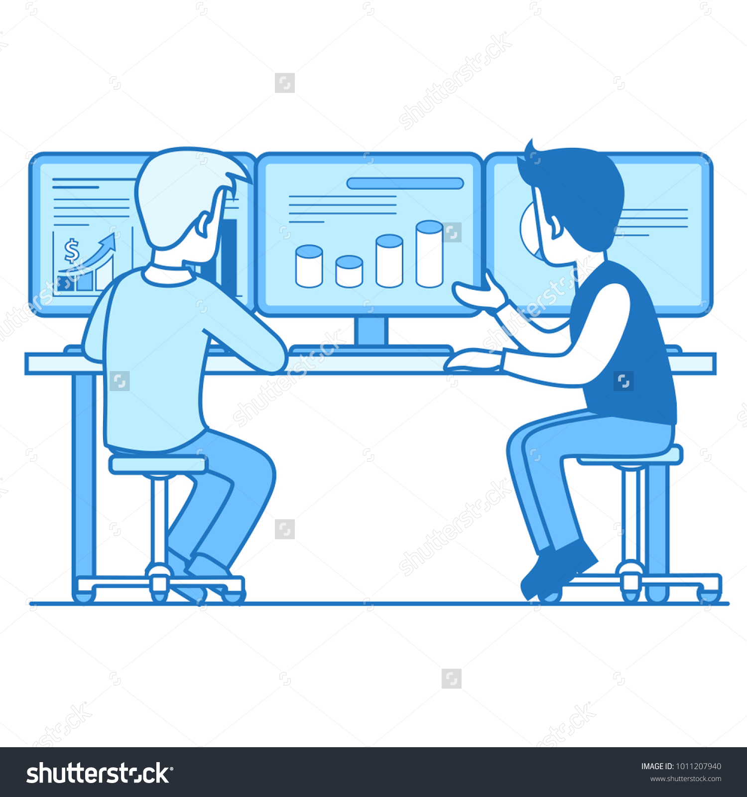hight resolution of two businessman rear back view working computer graph chart diagram on pc screen board with numbers businesspeople illustration vector