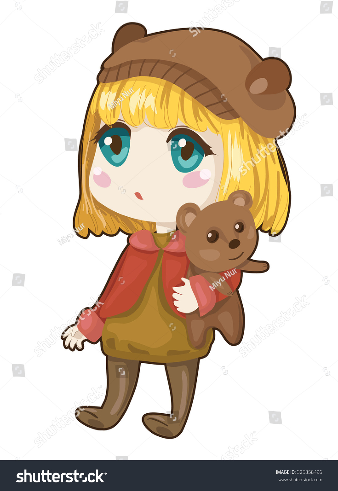 Teddy Bear Anime Girl : teddy, anime, Little, Anime, Teddy, Stock, Vector, (Royalty, Free), 325858496