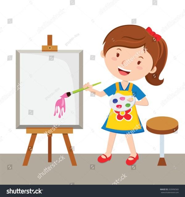 Little Artist. Vector Illustration Of Girl