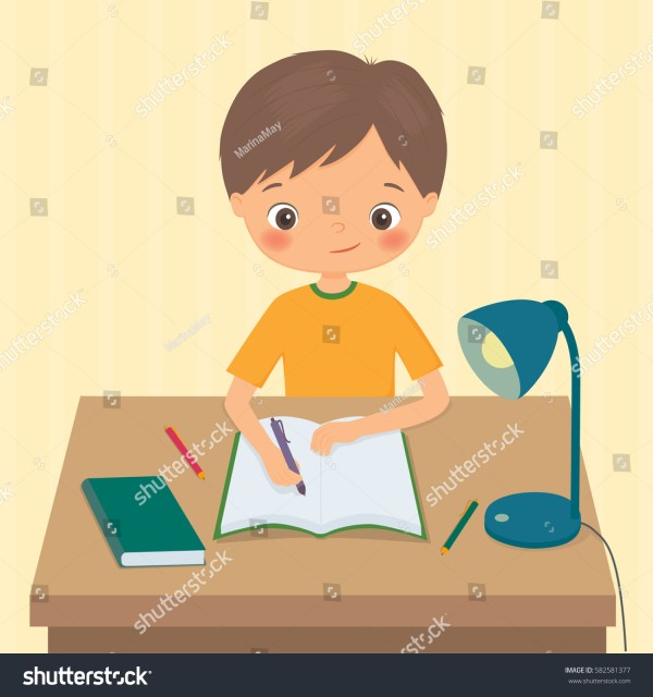Cartoon Boy Doing Homework