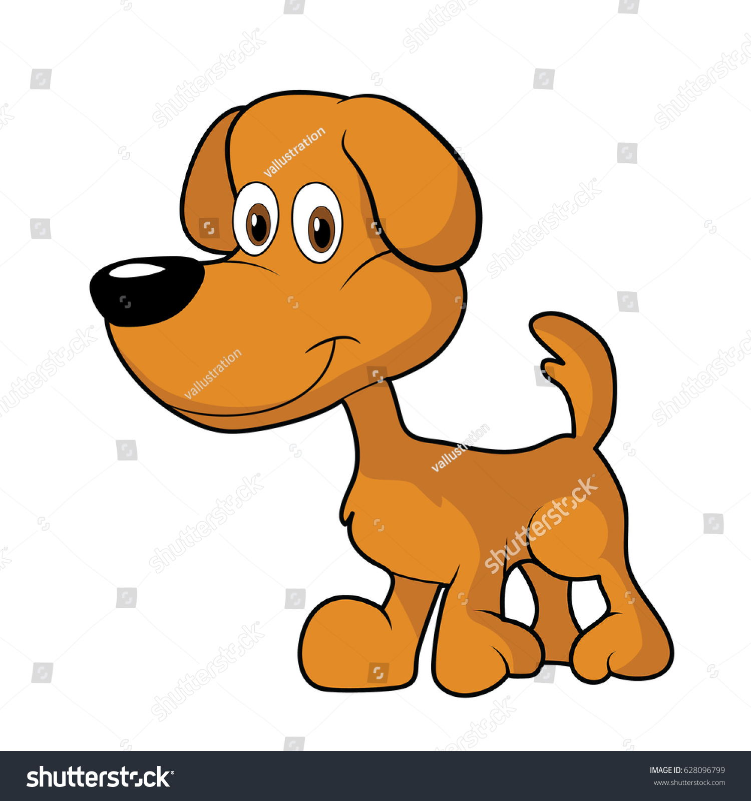 hight resolution of little cute brown cartoon dog clipart