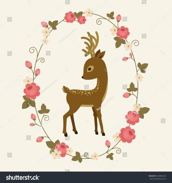 Little Deer Rose Wreath Fawn Cartoon Stock Vector
