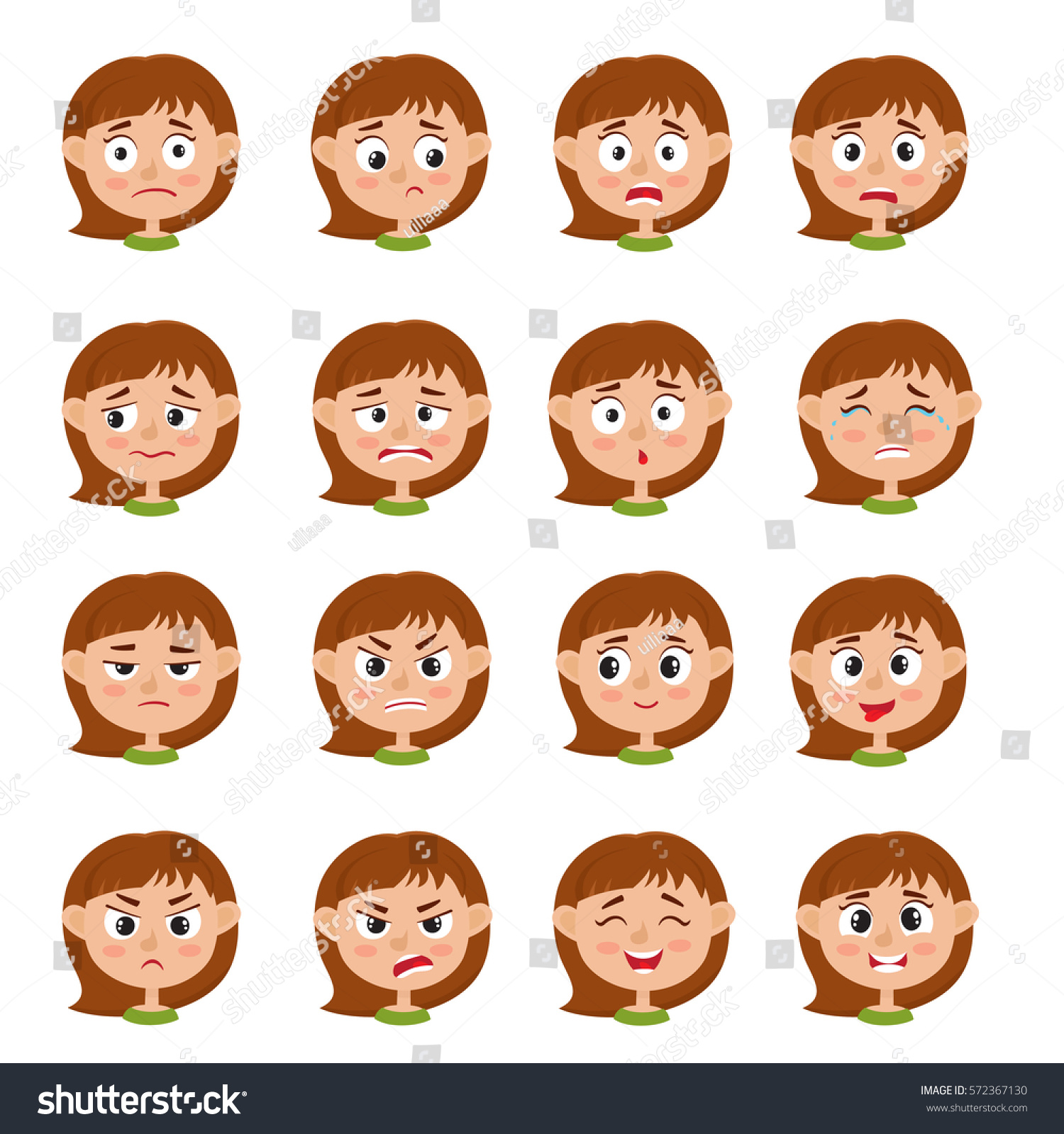 Little Girl Face Expression Set Cartoon Stock Vector