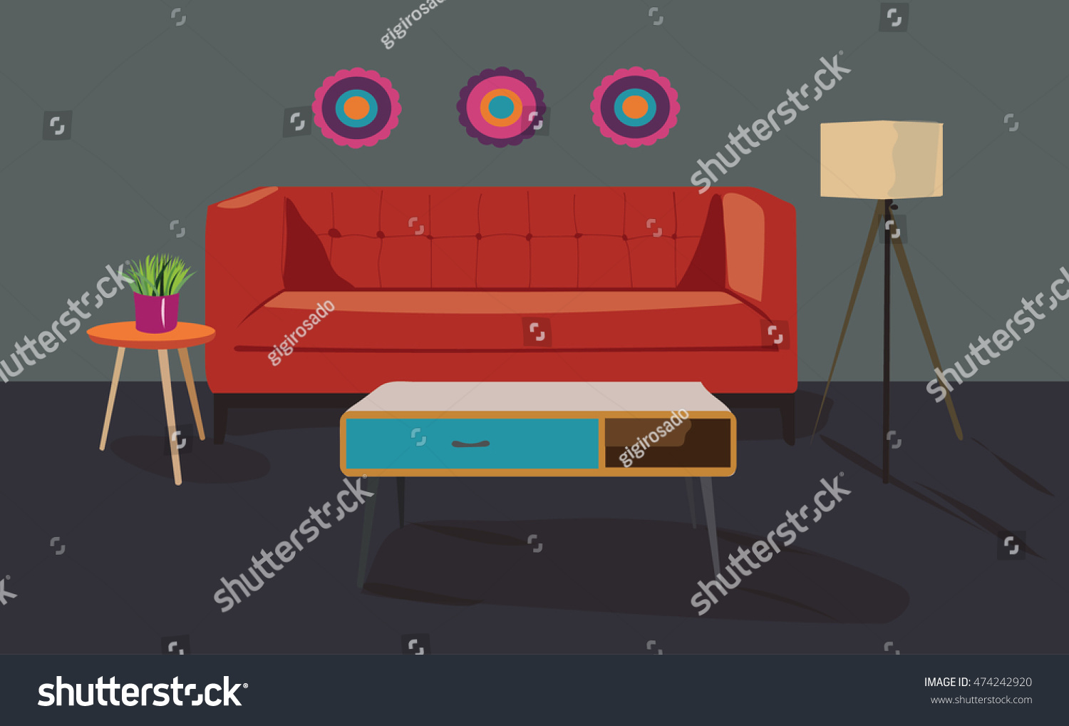 Living Room Furniture Set Vector Interior Stock Vector