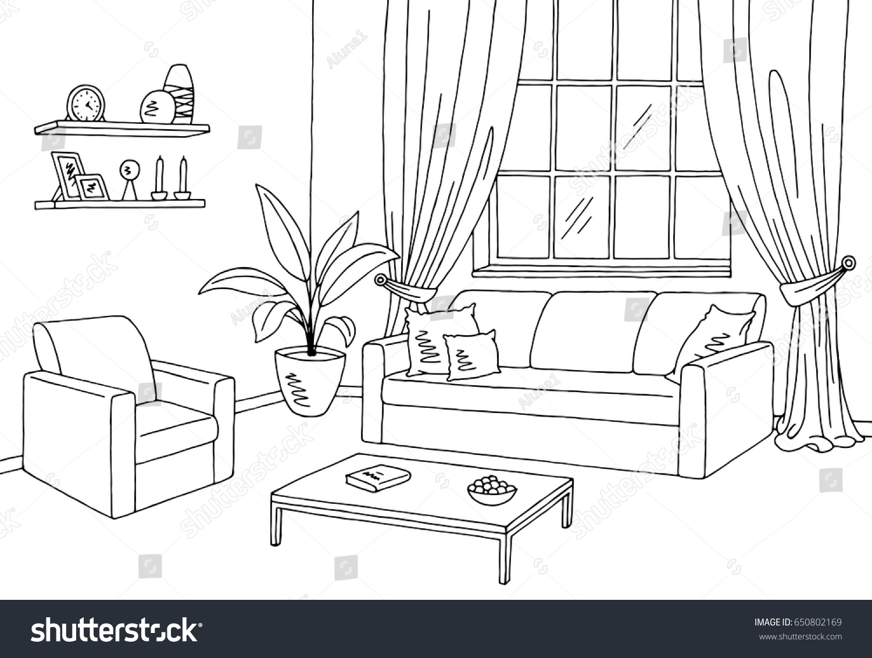 Living Room Graphic Black White Interior Stock Vector