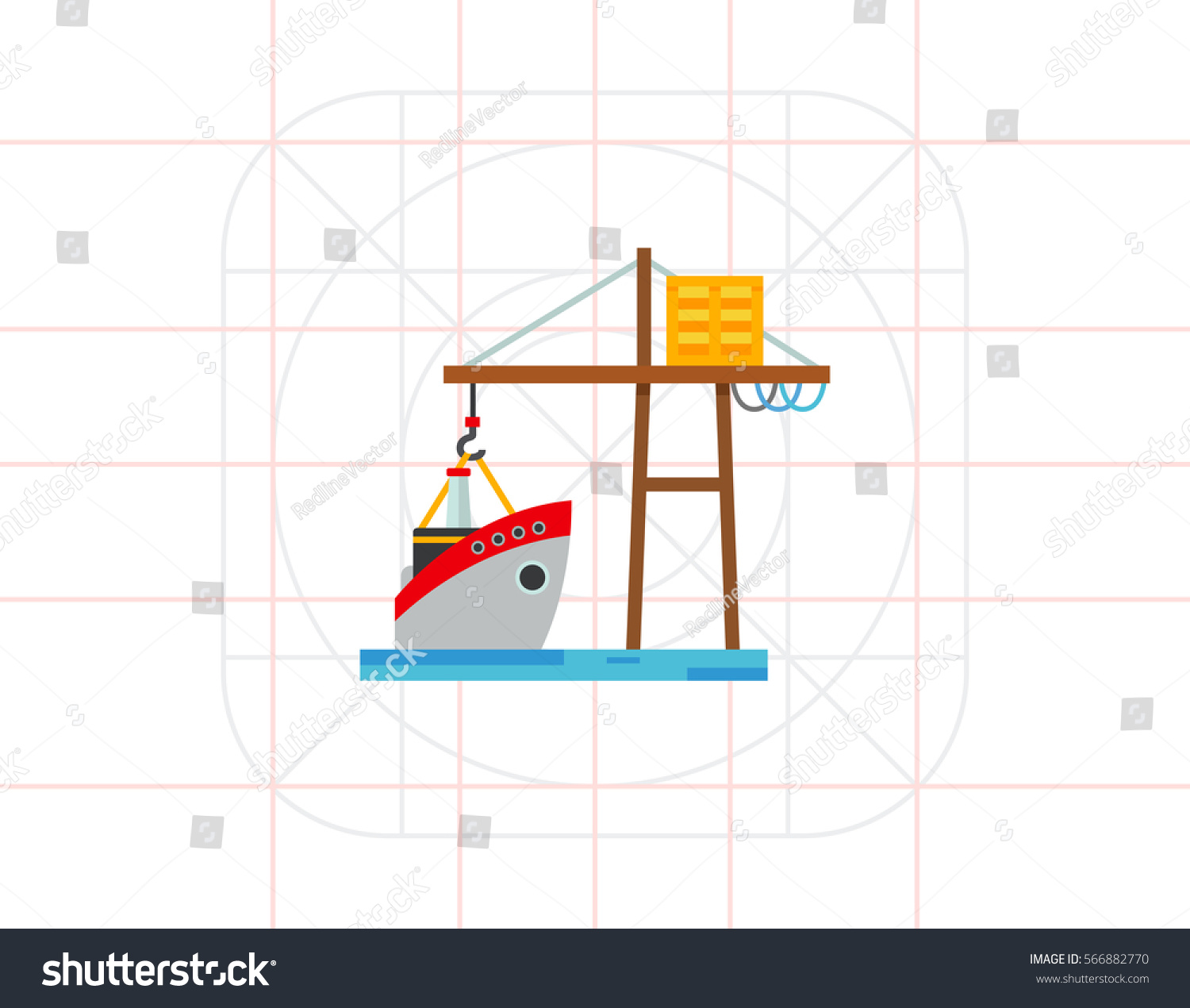 hight resolution of logistic ship and crane icon