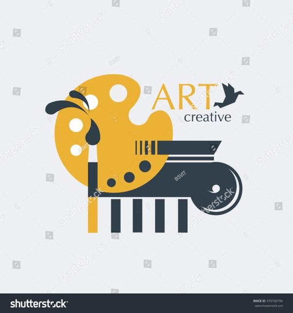 Logo Design Creativity And Art With Brush Palette Ionic Column Stock Vector Illustration
