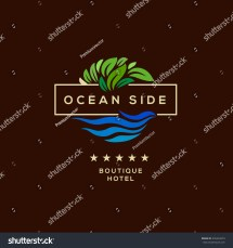 Logo Boutique Hotel Ocean View Resort Stock Vector