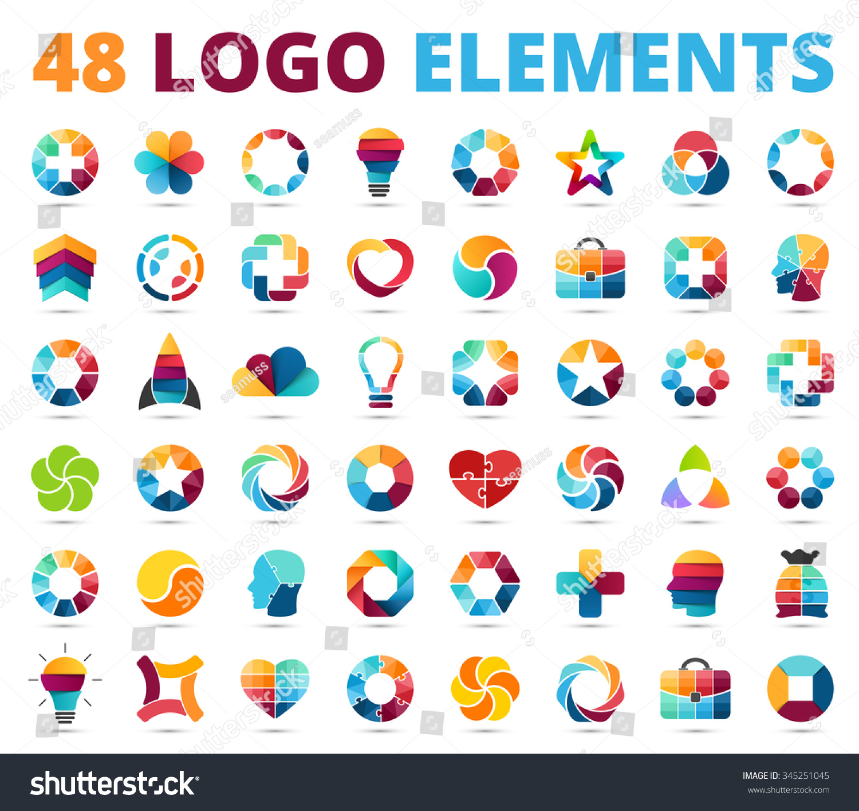 Logo Templates Set Abstract Circle Creative Signs And