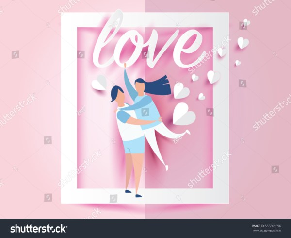 Love Valentines Day Young Joyful Couple Stock Vector