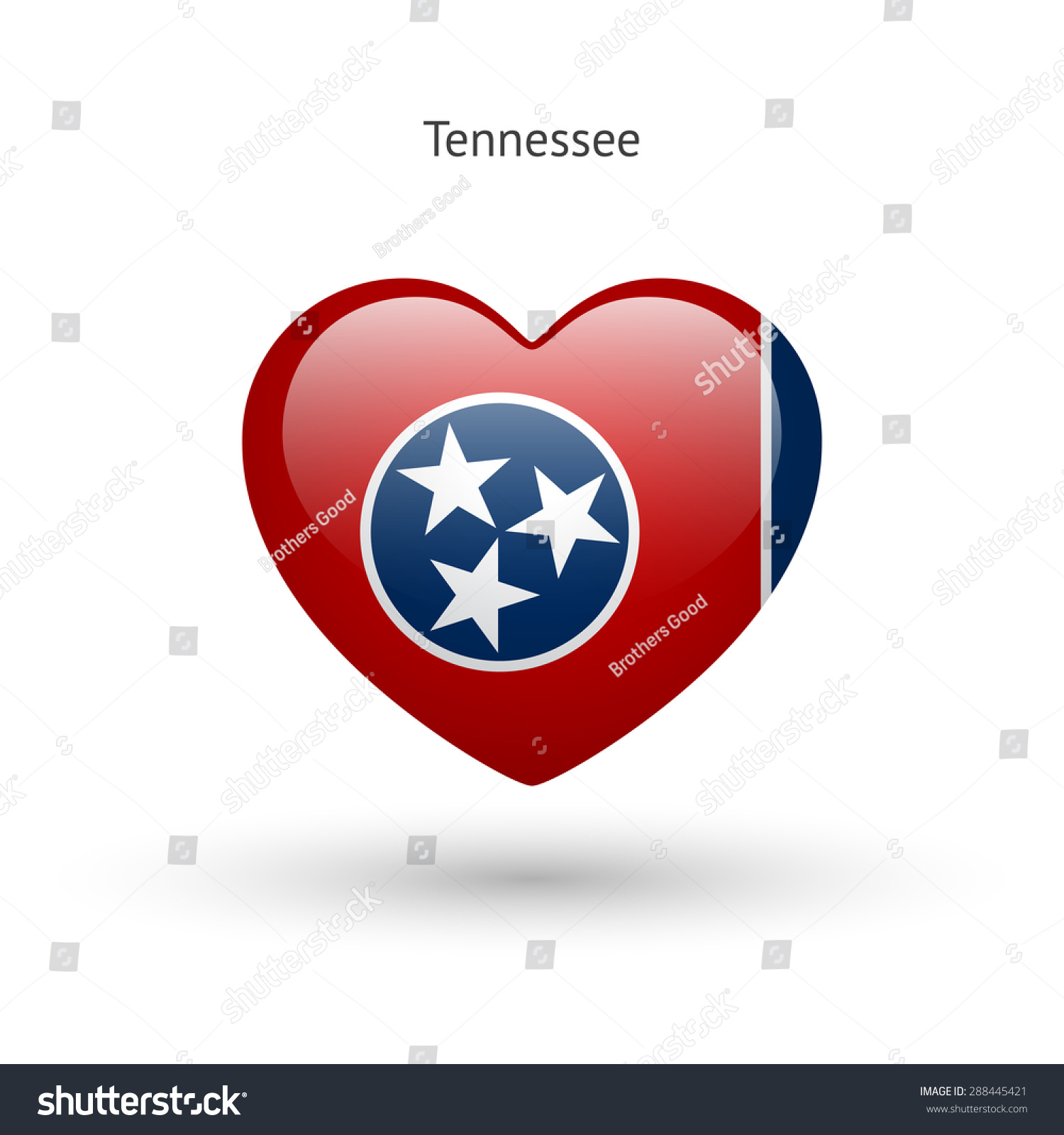 Love Tennessee State Symbol Heart Flag Stock Vector