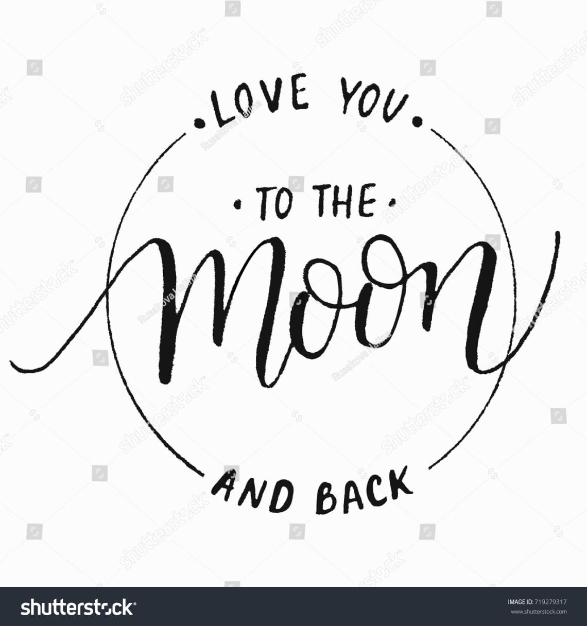 Download Love You Moon Backmodern Calligraphy Vector Stock Vector ...
