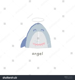 lovely shark smile with a halo angel hand drawn vector emoji funny illustration [ 1500 x 1600 Pixel ]