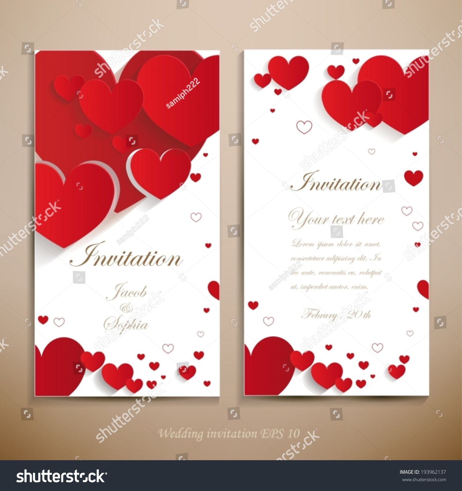 Black White Red Wedding Announcements