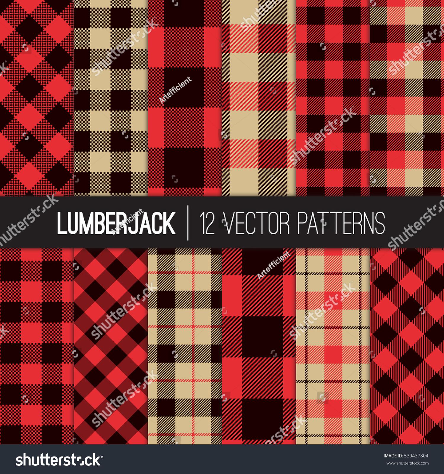 Lumberjack Patterns Red Black Camel Beige Stock Vector